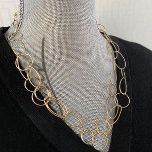 Oval and Round Open Link Gold Necklace